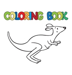 Coloring book of little funny kangaroo vector image vector image