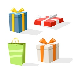 Different color gift boxes isolated on white vector