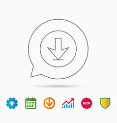 download icon down arrow sign vector image vector image