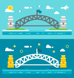 Flat design Sydney harbour bridge vector image vector image