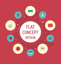 flat icons present shop percentage and other vector image