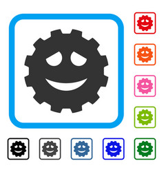 Funny smiley gear framed icon vector