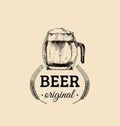 Kraft beer mug logo lager cup retro sign hand vector