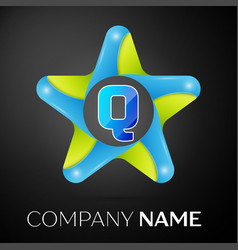 Letter q logo symbol in the colorful star on black vector