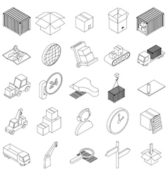 Logistics icons set isometric 3d style vector image