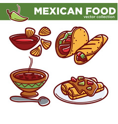 mexican food collection with spicy dishes vector image vector image