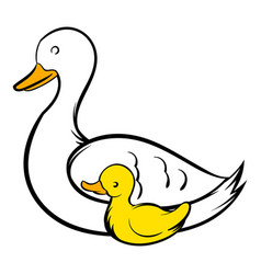 mother swan and cygnet icon icon cartoon vector image