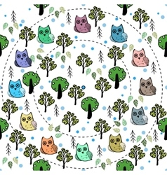 Owls in the forest seamless pattern vector image vector image