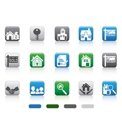 real estate iconsquare button series vector image vector image