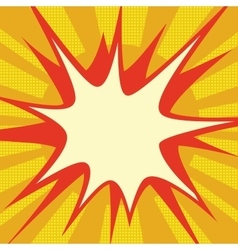 Red comic explosion over orange sun vector