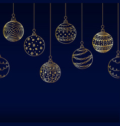 seamless border from golden christmas ball toy vector image vector image