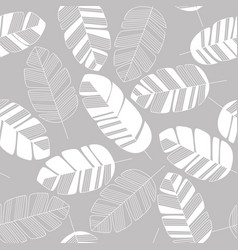 Seamless pattern with white leaves on gray vector
