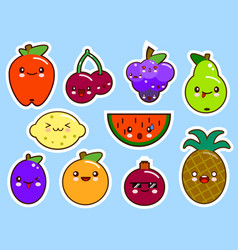 set of fruits smiley face kawaii vector image