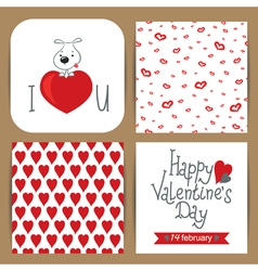 set with dog on heart and patterns vector image