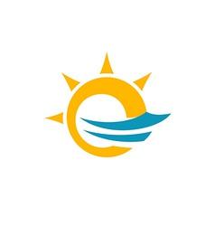 Sun and sea symbol vector