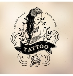 Tattoo girl old school studio skull vector