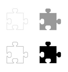 The puzzle the black and grey color set icon vector