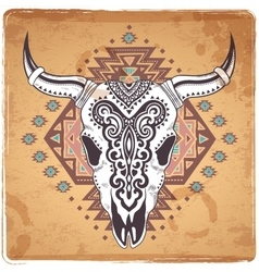 Tribal animal skull with ethnic vector image