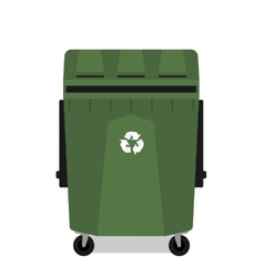 Wheeled garbage can with recycling symbol empty vector