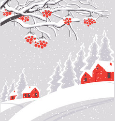 winter landscape with snow-covered village vector image