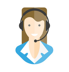 Woman-operator in headphones with microphone vector