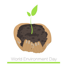 World environment day handful of soil whith plant vector