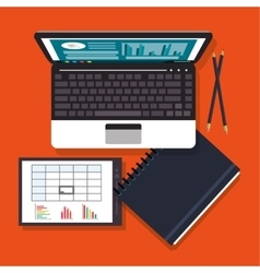 Laptop office work time supply icon vector