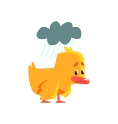 Duckling under the weather cute character sticker vector