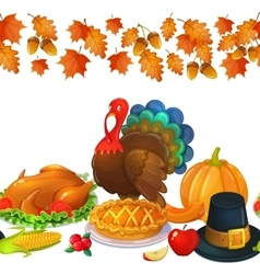Seamless horizontal border with thanksgiving icons vector