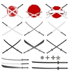 Set of the katana swords vector