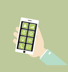 White smartphone with icons in the hand vector