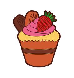 Little delicious creamy cupcake vector
