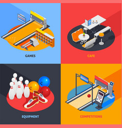 Bowling colorful isometric compositions vector