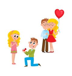 loving couple making proposal happy together vector image