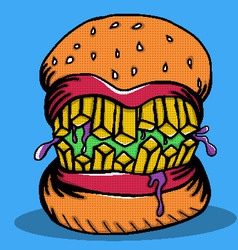 Crazy burger monster doodle vector