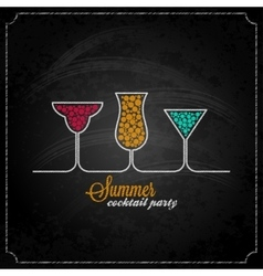 Summer cocktail party design chalk background vector