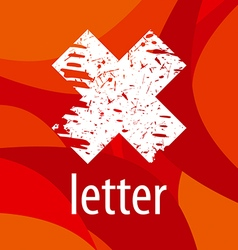 Abstract logo letter X on a red background vector image