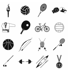 Summer sport black simple icons set vector