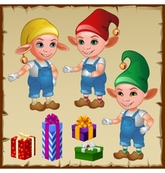 Three dwarf with gifts vector