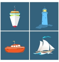 Front view of a ship lighthouse vector