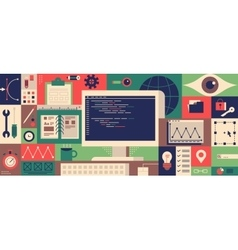 Web programming design flat concept vector