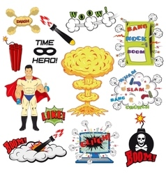 Set of retro comic book design elements vector