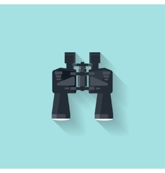 Binoculars in a flat styletravel and hiking vector