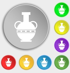 Amphora icon sign Symbol on eight flat buttons vector image vector image