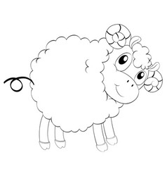 Animal outline for cute sheep vector
