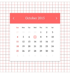 Calendar page for october 2015 vector