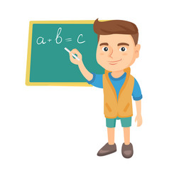 caucasian schoolboy writing on the blackboard vector image vector image