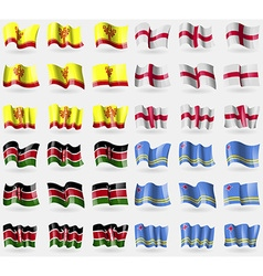 Chuvashia england kenya aruba set of 36 flags of vector