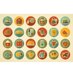 Farm garden retro flat icon with long shadow vector