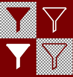 Filter simple sign bordo and white icons vector